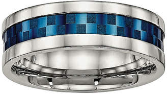 MODERN BRIDE Mens 8mm Stainless Steel & Blue Ion-Plated Wedding Band
