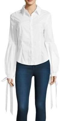 Milly Helen Tie-Cuff Poplin Shirt