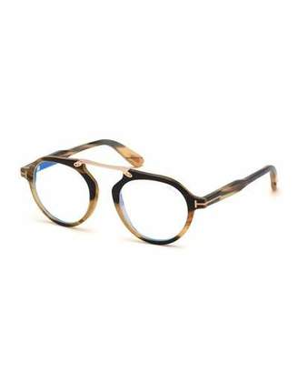 958af8dacf Tom Ford Men s Tom N.15 Shiny Horn Round Blue-Blocking Glasses