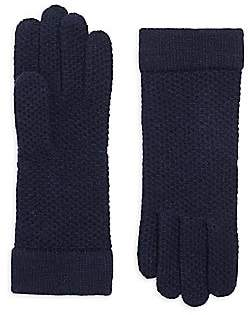 Portolano Women's Honeycomb Knit Cashmere Gloves