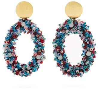 Carolina Herrera Bead Embellished Hoop Clip On Earrings - Womens - Blue