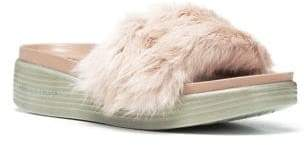 Donald J Pliner Real Rabbit Fur Footbed Slide Sandal
