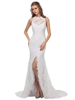 Miao Duo Sexy Summer Beach Lace Wedding Dresses for Bride High Slit Bridal Gowns