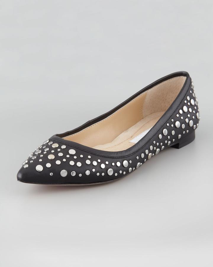 Diane von Furstenberg Ara Studded Pointed-Toe Skimmer Flat, Black