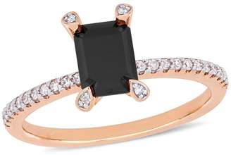 Concerto 10K Rose Gold, 1.1 CT. T.W. Black White Diamond Emerald-Cut Ring