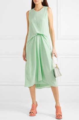Sies Marjan - Lottie Pick Up Silk Crepe De Chine Midi Dress - Light green