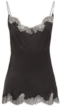 Carine Gilson Lace Trimmed Silk Cami Top - Womens - Black