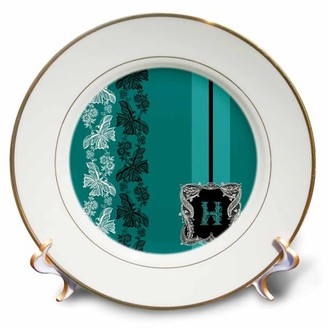 3dRose Monogram Initial H in Teal White and Black Lace - Porcelain Plate, 8-inch