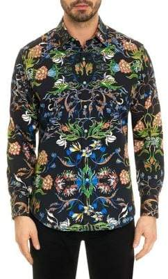 Robert Graham Warner Vibrant Botanical Print Button-Down Shirt