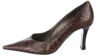 Sesto Meucci Embossed Leather Pointed-Toe Pumps