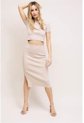 Dynamite Midi Bodycon Sweater Skirt Pale Blossom Beige
