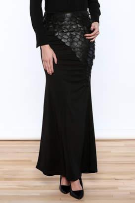 Gracia Leatherette Trim Maxi Skirt
