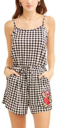 Eye Candy Juniors' Romper with Elastic Tie Waist and Patch