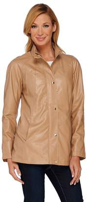 Dennis Basso Faux Leather A-Line Jacket with Raglan Sleeves
