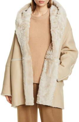 Vince Genuine Shearling Hooded Coat