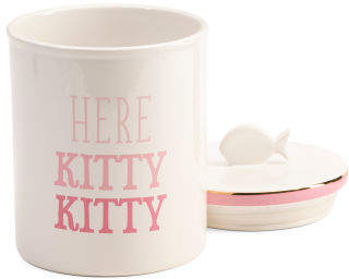 10in Here Kitty Treat Canister