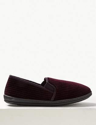 "Marks and Spencer Corduroy Slippers with Freshfeetâ""¢"