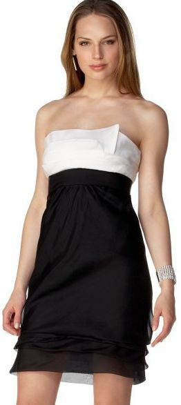 BCBGMAXAZRIA Silk Organza Strapless Tiered Dress