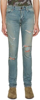 Saint Laurent Blue Original Low Waisted Destroyed Skinny Jeans $890 thestylecure.com