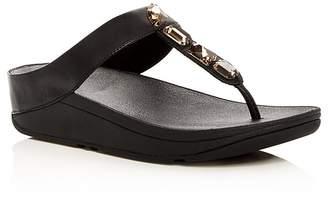 FitFlop Women's Roka Embellished Platform Thong Sandals