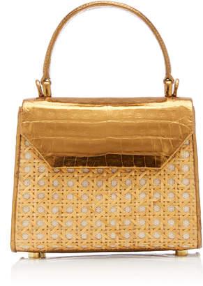 Nancy Gonzalez Lilly Metallic Cane And Crocodile Top Handle Bag