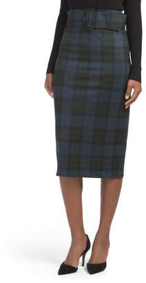 Plaid Knit Pencil Skirt With Belt