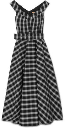 Michael Kors Belted Checked Cotton-blend Poplin Midi Dress - Black
