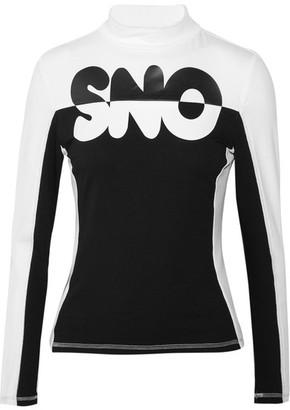 Topshop Sno - Appliquéd Stretch-jersey Top - Black