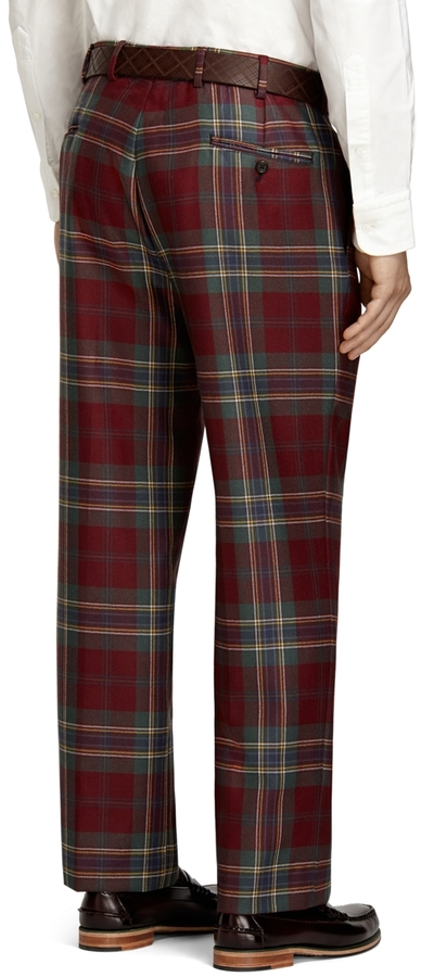 Brooks Brothers Own Make Burgundy Tartan and Antique McLean of Duart Dress Trousers