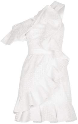 Self-Portrait One-Shoulder Ruffle Lace Dress
