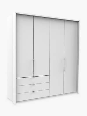 John Lewis Pirna Bi Fold 200cm 4 Door Wardrobe with 3 Left Drawers