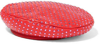 Eugenia Kim Cher Crystal-embellished Leather Beret - Red