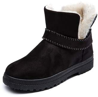 c333a465b29 PAMRAY Womens Winter Fur Snow Boots Warm Waterproof Sneakers Suede Flat  Platform Slip on Shoes Black