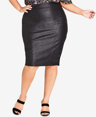 1f44574c2c0 at Macy s City Chic Trendy Plus Size Faux-Leather Pencil Skirt