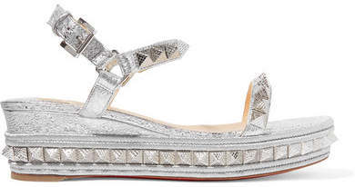 Christian Louboutin - Pyraclou 60 Spiked Metallic Textured-leather Wedge Sandals - Silver