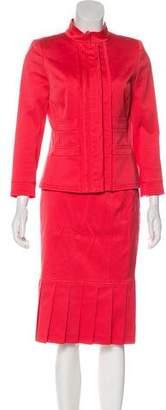 Oscar de la Renta Pleated Skirt Suit