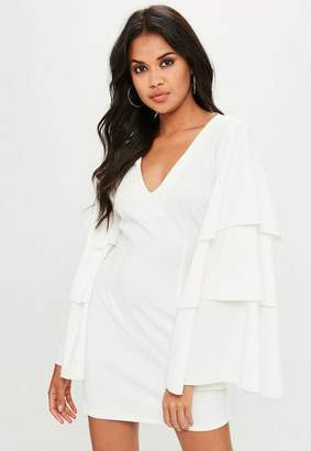 Missguided Plunge Tiered Sleeve Dress