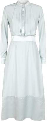 Burberry Silk Pleat-Front Midi Dress