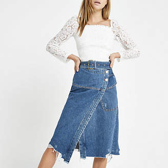 River Island Blue wrap utility denim midi skirt