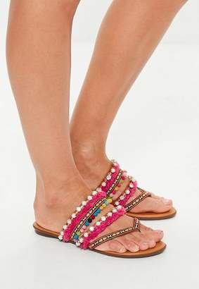 Missguided Tan Multi Embroidered Strap Toe Post Sandals