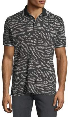 Just Cavalli Men's Tiger-Stripe Polo Shirt