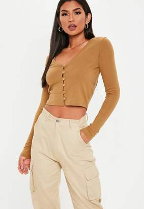 Missguided Camel Wooden Button Front Long Sleeve Crop Top