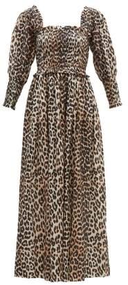 6a3310ca2846 Ganni Shirred Leopard Print Cotton Blend Maxi Dress - Womens - Leopard