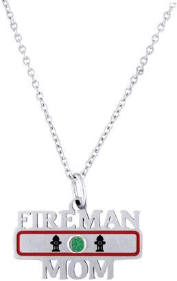 Esty & Me Stainless Steel Fireman Mom Pendant w/ Personalized Birth Month