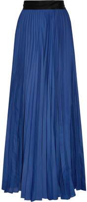 Diane von Furstenberg Pleated Silk-satin Maxi Skirt