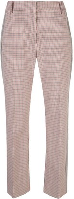 Derek Lam 10 Crosby Cropped Flare Check Trouser with Tuxedo Stripe