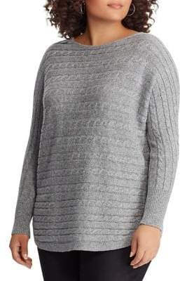 Chaps Plus Cable-Knit Dolman-Sleeve Sweater