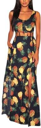 Beach Sexy pujingge-CA Women Sleeveless Pineapple Print Long Dress XL