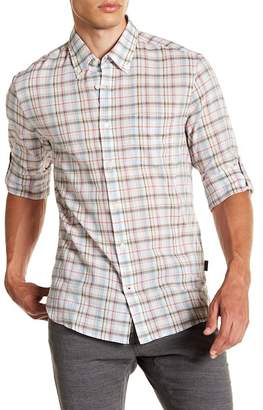 John Varvatos Collection Button Down Roll-Up Slim Fit Shirt