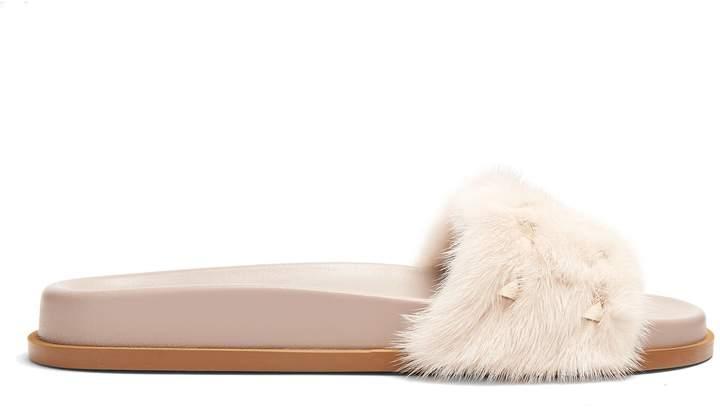 VALENTINO Rockstud mink-fur slides
